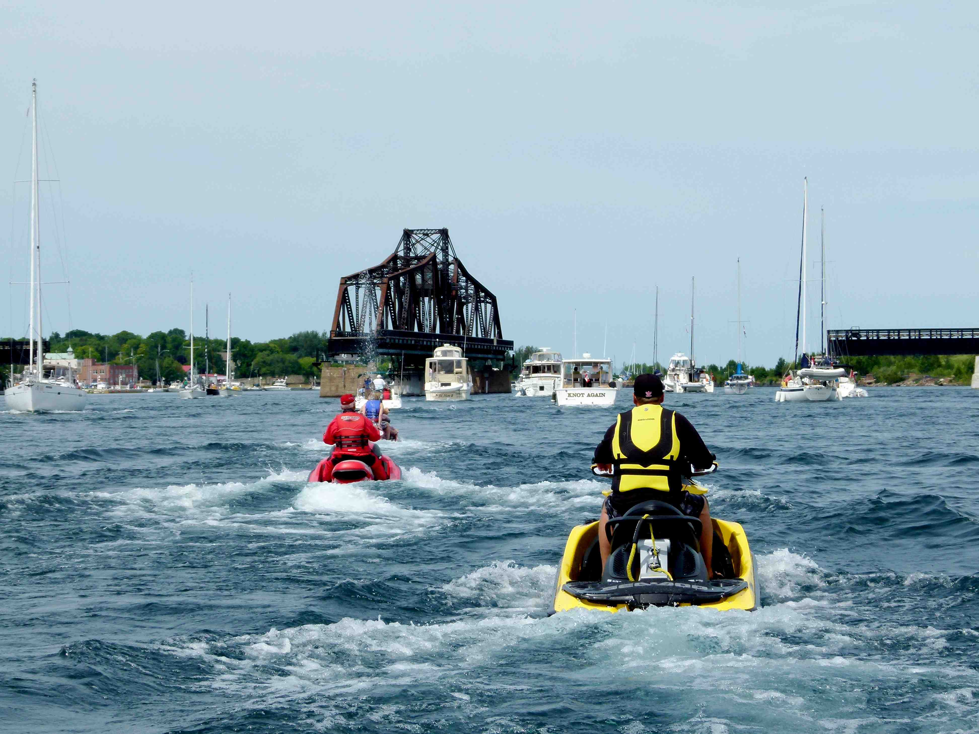 Riders approaching the swing bridge at Little Current on the North Channel Sea Doo tour