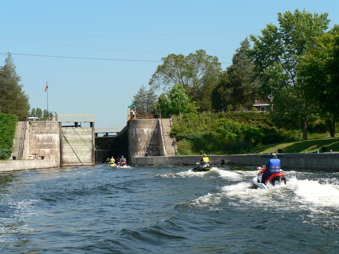 Entering a lock on Trent Severn Waterway Sea Doo Tour