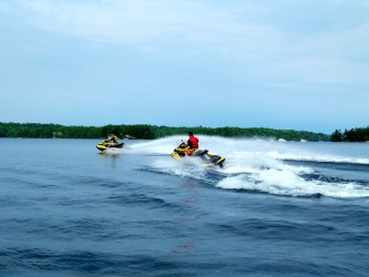 Riding our watercraft on the Kawartha Lakes Sea Doo tour