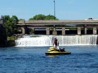 At the Fenelon Falls dam in the Kawartha Lakes Sea Doo tour