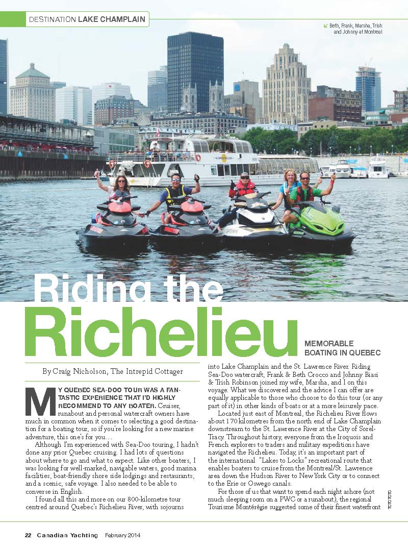 richelieu river sea doo tour