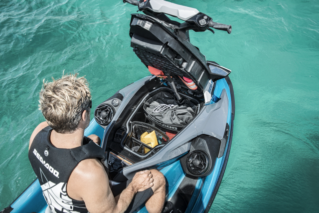 Direct access front storage compartment on the new Sea Doo platform