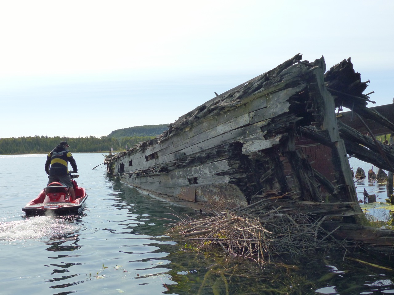 Sea Doo rider beside shipwreck on Bruce Peninsula Sea Doo tour