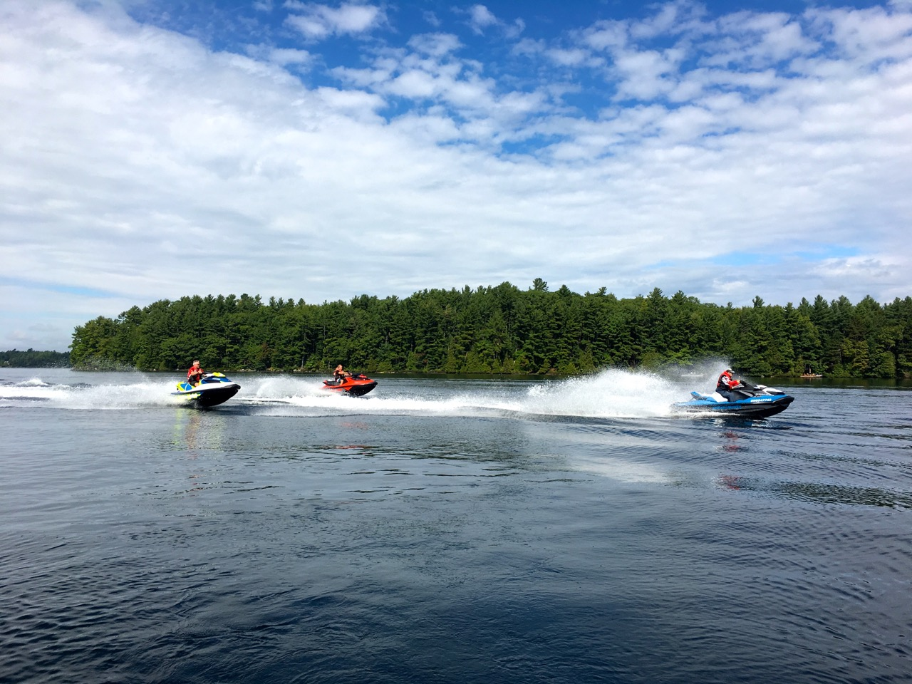 Cruising on calm Lake Muskoka waters during Muskoka fall Sea Doo tour