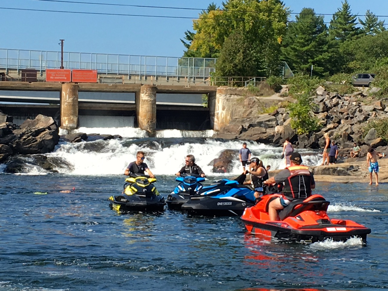 Stopping at White's Falls on a Muskoka fall Sea Doo tour